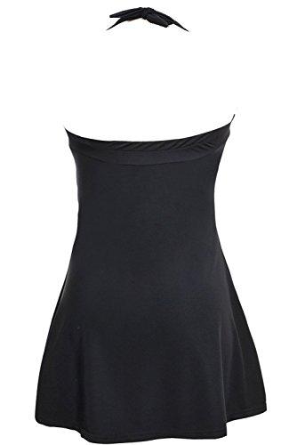 Aidonger Retro Donne Costume da bagno un Pezzo Costume intero Backless con gonna S-4XL bianco e nero1