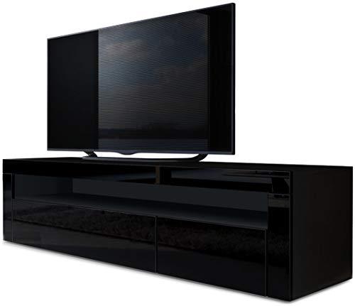 TV Board Lowboard Valencia, Korpus in Schwarz matt / Front in Schwarz Hochglanz mit Rahmen in Schwarz Hochglanz