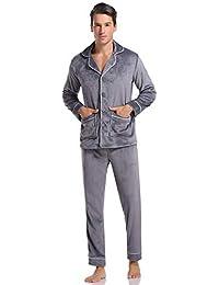 Aibrou Pijamas Hombre Invierno Franela de Manga Larga Conjunto de Pijama para Hombre Pantalones Largo Polar Ropa de Casa 2 Piezas