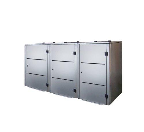 Mülltonnenbox Edelstahl, Modell Eleganza Line2, 120 Liter als Dreierbox