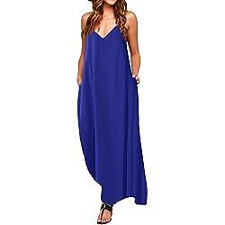 ACHIOOWA Mujer Vestido Elegante Playa Casual Dress Cuello V Sin Manga Túnica Sin Hombros Escote Punto Bolsillo Caftán Oversize Falda Larga Azul L