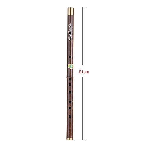ammoon Professional Black Bamboo Flute Dizi Traditional Handmade Chinese Musical Wind Instrument Wooden Key of G Study Level Clave de C
