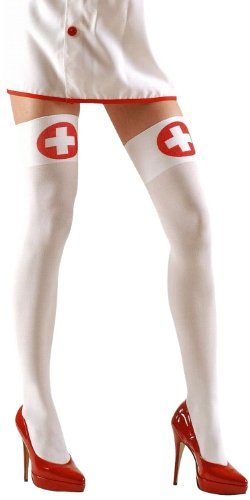 Widmann 2114N - Halterlose Strümpfe für Krankenschwester, 70 Den, Größe (Kostüme Männer Sexy Halloween)