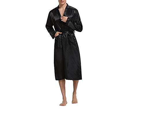New Black Men Satin Rayon Robe Gown Tinta Unita Kimono Bath Nightwear Lounge Casual Maschile Camicia da Notte Sleepwear Home Wear