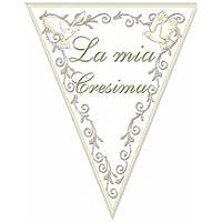 """Bandierine Pvc """"La mia Cresima"""" L.3,6 mt h.28 cm Scritta Verde rif.Gialle"""