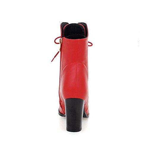 VogueZone009 Damen Rein Knoten Schnüren Hoher Absatz Stiefel Rot