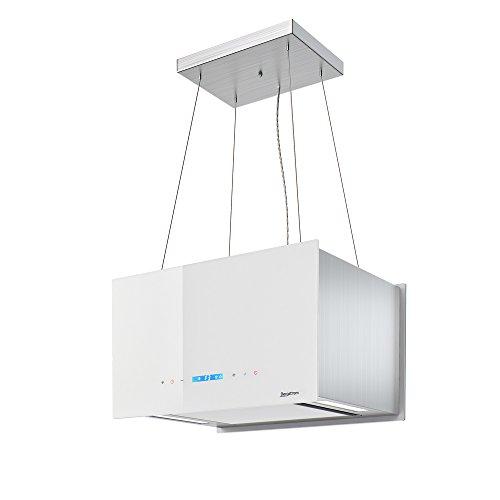 Dunstabzugshaube Inselhaube Deckenhaube Edelstahl freihängend Design Bergstroem Energieklasse A weiß