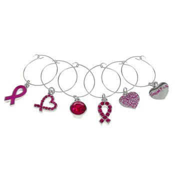 6 Tickled Pink Wine Glass Charms ribbon wedding party heart by Tickled Pink (Ribbon Cancer Charms)