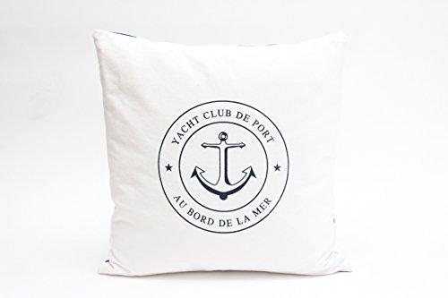 Kissenbezug Detlef 40x40cm Kissenhülle maritim Yacht Club Lounge Anker Sommer blau weiß gestreift Leinen Leinenoptik Dekokissen