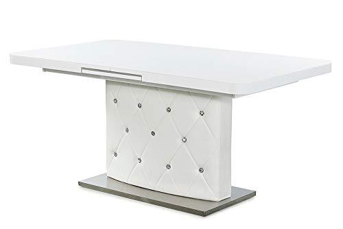 Invicta Interior Ausziehbarer Esstisch Diamonds 160-200cm weiß Glasplatte Strass-Steine Tisch Barock Design Konferenztisch