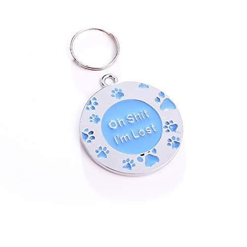 NashaFeiLi Hundemarke, rund, Edelstahl, personalisierbar, Geschenk für Katzen und Hunde
