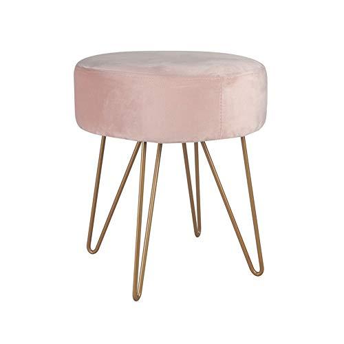 Repose-Pieds Fer Art Dressing Tabouret Maquillage Chaise en Daim Canapé Porte Changement De Chaussure Banc Hauteur 40 × Largeur 35 GW (Couleur : Light Pink)