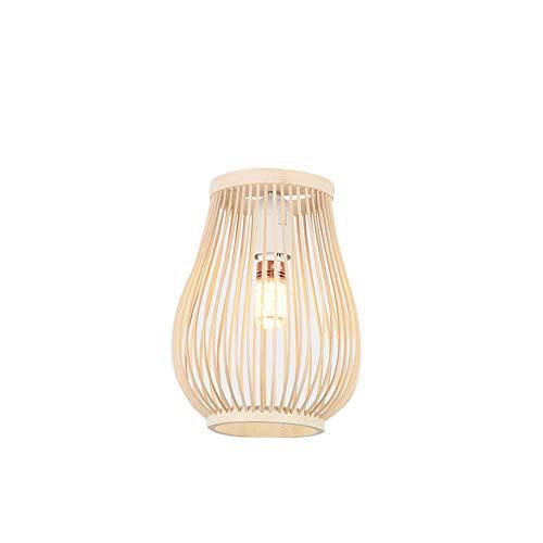 Ltongx Handgefertigte Bambus Lampenschirm Kronleuchter, Anhänger Deckenschirm, Natürliche Holzbraun Farbe Single Head Hängelampe,S