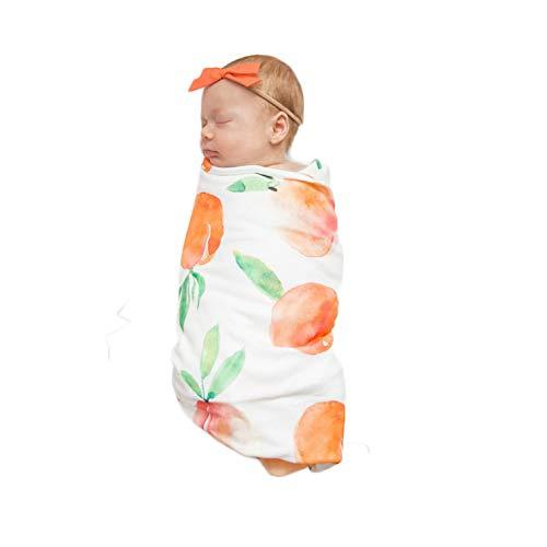 Decke Stirnband Set Blumendruck Baby Swaddle Schlaf Dusche Geschenk Kinderwagen Wrap Boy & Girl 0-3 Monate (90 x 90) cm,yellowpeach ()