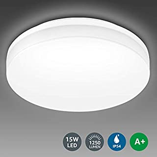 LE Bathroom LED Ceiling Light, 100W Equivalent, 15W 1250lm, Daylight White, Waterproof IP54, Modern, Flush Ceiling Light for Kitchen, Living Room, Bedroom, Hallway and More