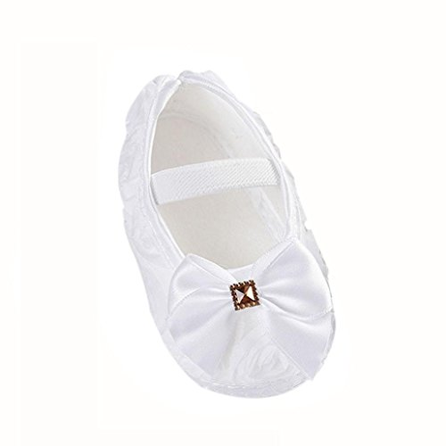 Clode®Toddler Kid Baby Girl Rose bowknot Elastic Band Newborn Chaussures de marche (6 ~ 12 Mois, Blanc) Blanc