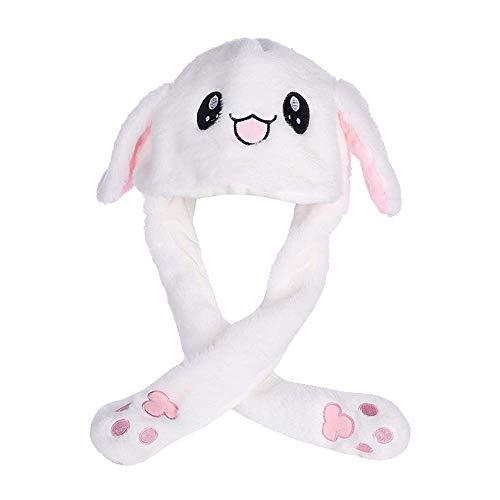 Füße Bunny Kostüm - Amasawa Moving Kaninchen Hut Plüsch Tier Ohr Hut Beweglichen Ohren mit Airbag-Kappe für Spielzeug Geburtstagsgeschenk Plüschtier Geschenk(Weiß)