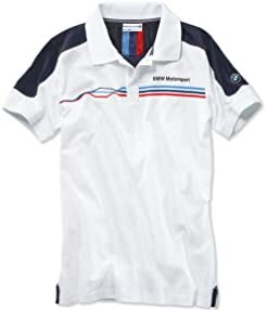 BMW Genuine Motorsport Mens Fan Polo Casual Shirt White Short Sleeved Cotton, Size: XL