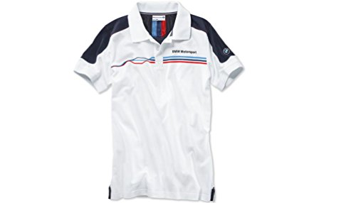 Originale BMW Motorsport da uomo fan polo da uomo a maniche corte in cotone bianco, taglia: XL