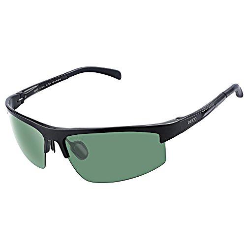 DUCO Herren Sportbrille Polarisierte Sonnenbrille Fahrerbrille 8203 (Schwarz/Grün)