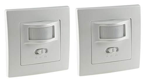 2 Stück Bewegungsmelder I Unterputz Einbau Sensor I LED geeignet I 9m Reichweite 2-Draht Technik IP20 I ersetzt einen Schalter I Weiß