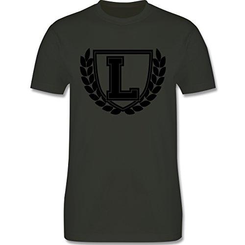 Anfangsbuchstaben - L Collegestyle - Herren Premium T-Shirt Army Grün
