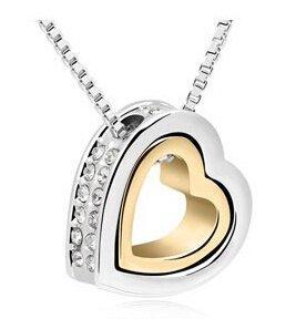 NORTHERN COAST ACCESSORIES Metallo Jewelled strass doppio cuori pendente della collana In GRATIS Gift Bag (Madri Cuore Collana)