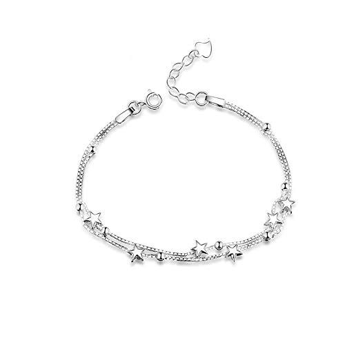 Elegant Perlen und Sterne Double Layered Armkettchen mit 925 Sterling Silber Armband Armkette Schmuck Verstellbar Armbänder für damen
