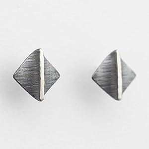 Ohrstecker Faltung Silber Manufaktur Ohrringe Raute Quadrat gehämmert fein