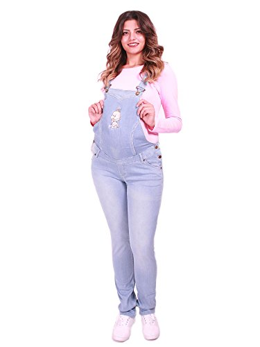 Schwangerschaftslatzhose | Jeans | Latzhose | Umstandsmode | Maternity | Baby (46, Hellblau)