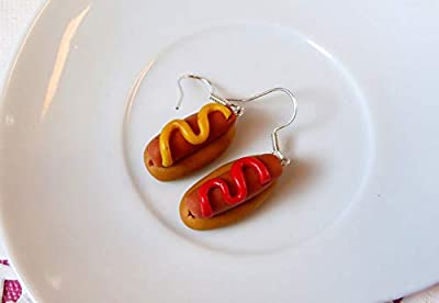 Boucles d'oreilles hot dog bijoux gourmands fimo