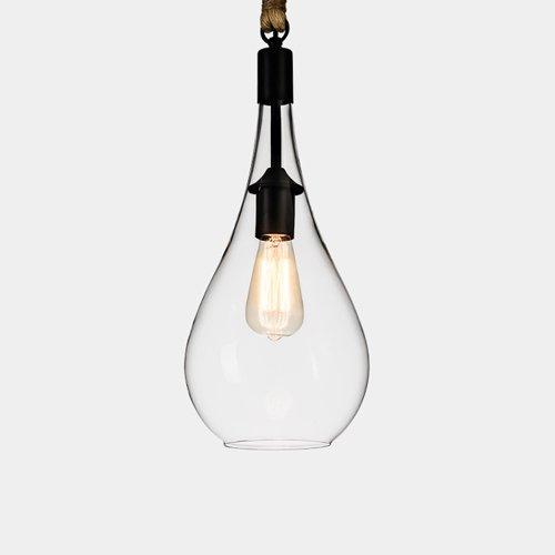 Pointhx Transparentes Glas Pendelleuchte Kronleuchter Nordic Excellence E27 1-Licht Hängelampe mit verstellbarer Hand-woven Hanfseil (Größe : Style D) - Glas 1 Licht Kronleuchter