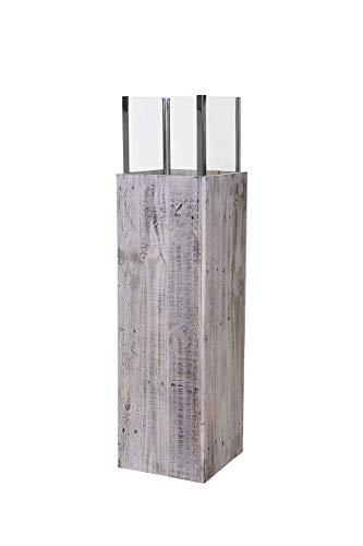 VIVANNO Windlicht Windlichtsäule Kerzenhalter Säule Recycling Holz Candela 112 cm hoch Shabby Chic Weiß