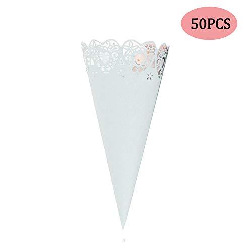 Bebester Hochzeits-Konfetti-Kegel, 50 Stück, für Konfetti-Papier, Blütenblätter, hohl, bedruckt, Süßigkeiten-Halter, Partyzubehör, Spitze, Papierkegel, Basteln, Hochzeitszubehör weiß - Wrap-halter Papier