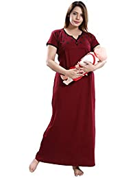 TRUNDZ Women's Cotton Maxi Maternity Night Gown