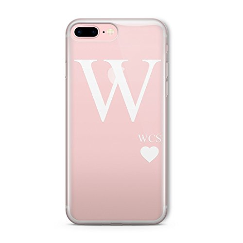 personnalisé clair opaque initiales Word Coque pour iPhone Gamme, plastique, Big Initial Heart, Big Initial Heart, iPhone 7 Big Initial Heart, Big Initial Heart