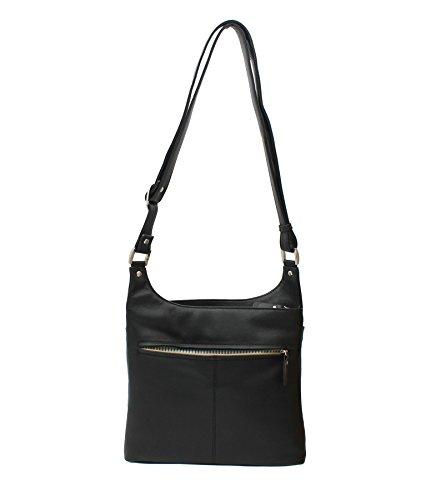Mala en cuir TEDDY Collection Femme Messenger Bag en cuir noir 789_82 noir