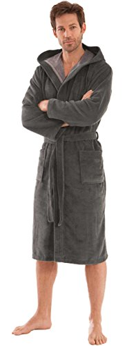 Morgenstern Bademantel mit Kapuze für Herren in Grau Herrenbademantel Hausmantel Männer Baumwolle Microfaser Viskose leicht Größe L - Trockner Kapuze