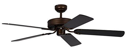 Pepeo Potkuri ventilador de techo sin luz, carcasa de bronce viejo, aspas reversibles negro, 132 cm...