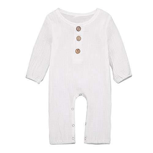 LEXUPE Neugeborene Baby Boy Girl Baumwolle Leinen Feste Strampler Overall Kleidung Outfits(Weiß,80)