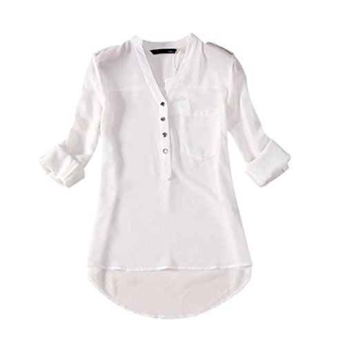 Camicia elegante da donna, meibax 1pc donne primavera estate scollo a v chiffon manica lunga camicia casual camicetta in a colori tinta reversibile manica grande tasca (bianco, l)