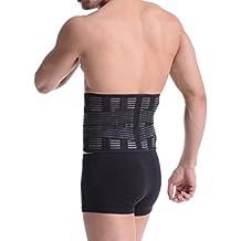 Yiyo transpirable cómodo elástico ajustable Cintura Trimmer Faja Cinturón de protección para hombre inferior lumbar, soporte de la espalda, ejercicio, gimnasio, levantamiento, barriga cintura, negro, small