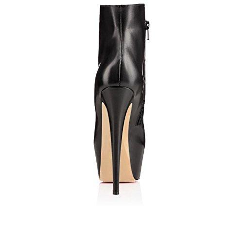 EDEFS Femmes Artisan Fashion 160mm Boots Cheville Bout Fermés Plateforme Chaussures à Talon Haut Noir-V Noir-S