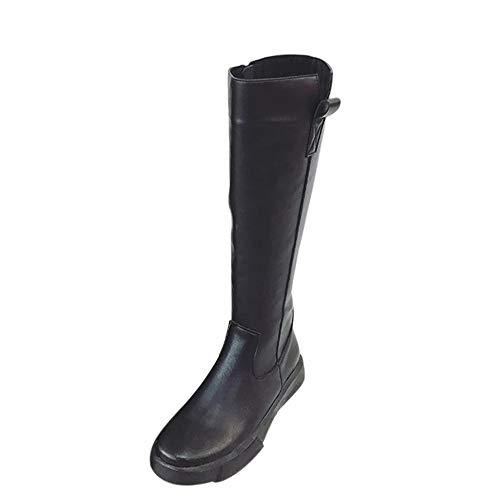 Stiefeletten Damen Schuhe ABsoar Boots Stiefel Frauen Elegant Ritterstiefel Langschaftstiefel Mode Overknee Stiefel Rund Toe Hohe Gürtelschnalle Flache Stiefel Frauenstiefel