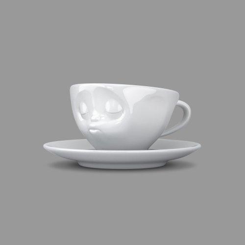 FIFTYEIGHT PRODUCTS TV Tasse Espressotasse mit Untertasse küssend Porzellan weiß (Espresso-kamin)