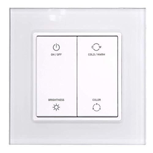 iluminize Zigbee 3.0 Wand-Dimmer mit Touchlink für weiße, duo-weiße (CCT) und RGB LEDs, 4 Tasten, 1 Zone (für weiße LEDs) -