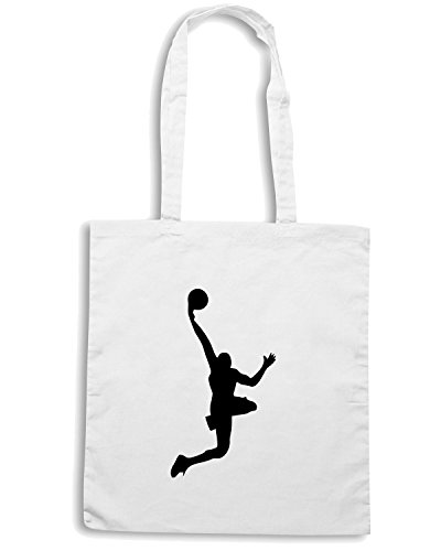 T-Shirtshock - Borsa Shopping SP0031 Basketball Player Dunk Maglietta Bianco