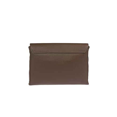 Trussardi Frauen-Handtasche in der echten Dollar Leder, 100% Kalb - 33x23x4 Cm Dunkelbraun