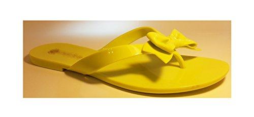 Sexy sandales femmes, tongs flip flop pour l été et les vacances, vert-jaune, blanc, noir, noir-jaune, orange-zèbre ou jaune - zèbre, modèle 11064110001106, avec ou sans boucle ou des rivets. Vert-jaune avec boucle.