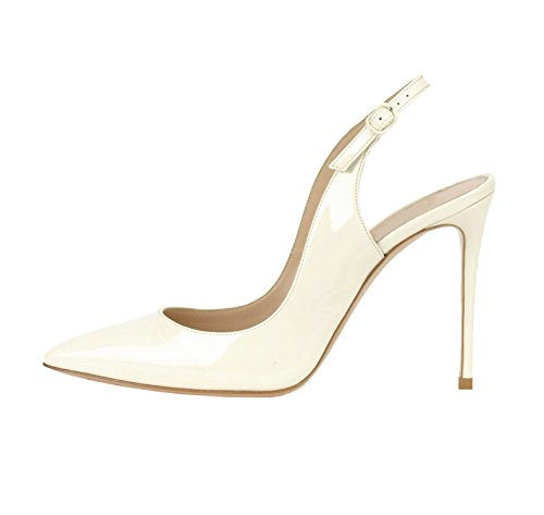 Centimetri Edefs Tallone Donna Slingback Toe Pompe Chiuso 10 Bianco RF7Rq0x
